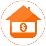 Illustration d'une maison orange et du coût de la transaction immobilière