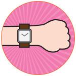 Illustration d'une montre au poignet sur fond rose