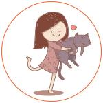 Illustration d'une fillette avec son chat