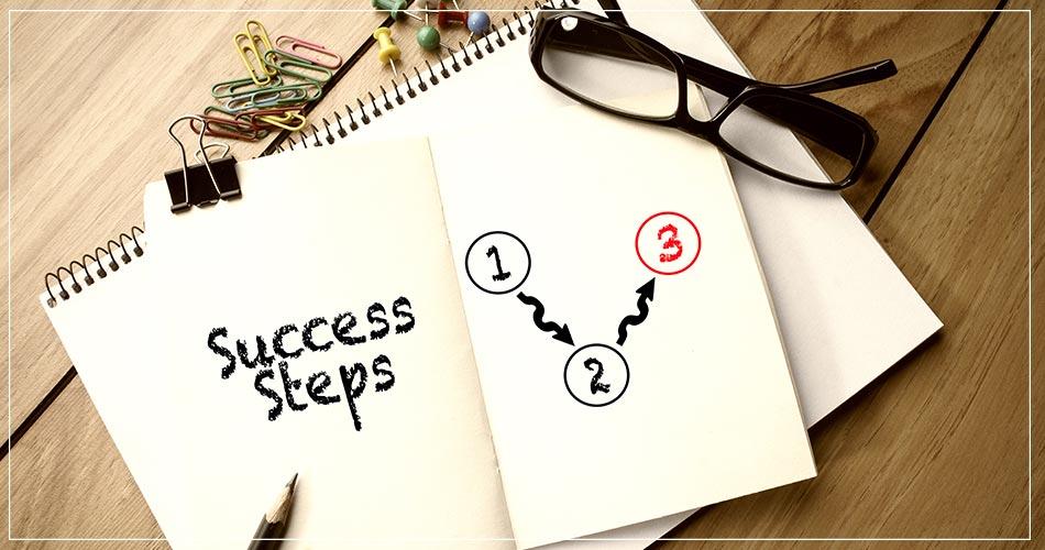 Illustration avec un programme pour se diriger vers le succès en 3 points