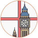 Illustration pour symboliser l'Angleterre avec Big Ben et le drapeau national