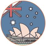 Illustration pour symboliser l'Australie avec l'opéra de Sydney et le drapeau national
