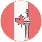 Illustration pour symboliser le Canada avec la tour CN Tower et le drapeau national