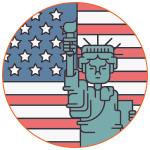 Illustration pour symboliser les USA avec la Statue de la Liberté et le drapeau américain