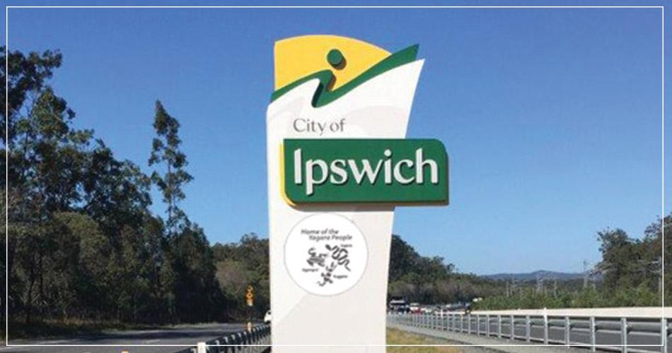 Panneau ville d'Ipswich au Royaume-Uni