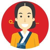 illustration d'une femme avec costume coréen