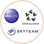 Logos de 3 alliances de compagnies aériennes
