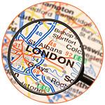 Loupe sur une carte de la ville de Londres