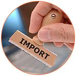 Main avec un tampon douanier pour l'import