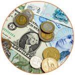 Différentes monnaies étrangères