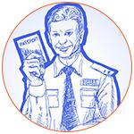 Illustration d'un officier des douanes dessiné en bleu, tenant un passeport biométrique