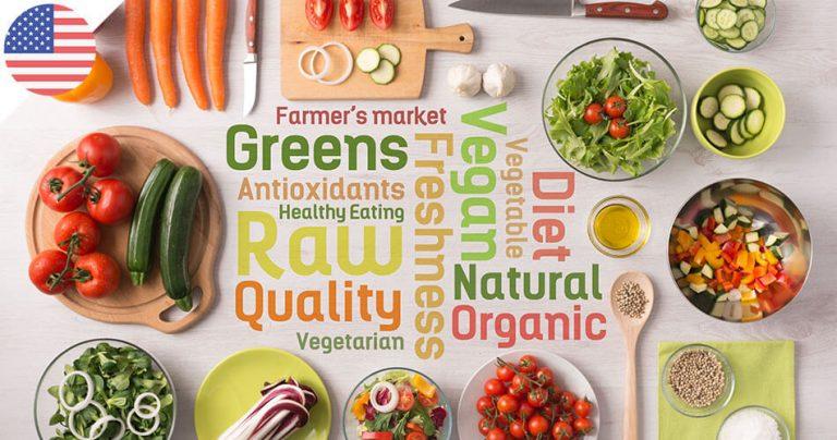 Illustration consommation de produits bio, organic, naturels