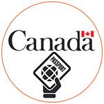 Le logo du gouvernement canadien avec un picto passeport