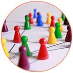 Des pions colorés pour symboliser le Networking