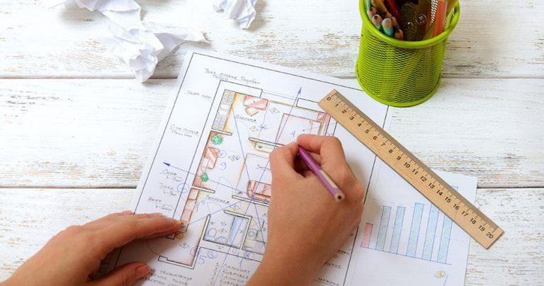 Dessin d'un plan Feng Shui pour un intérieur