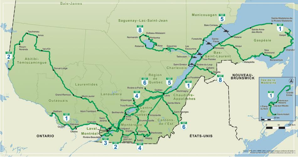 Plan de la route verte au Québec (Canada)