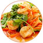 Plat asiatique à base de crevettes