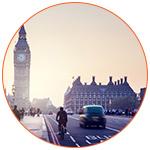 Route londonienne avec Big Ben en fond.