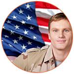 Soldat américain avec le drapeau US en fond
