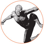 Illustration de Spiderman en noir et blanc