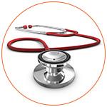 Gros plan sur un stethoscope rouge