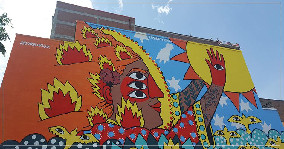 Jolie fresque murale - Street art à Montréal
