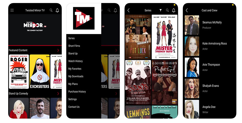Ecrans d'iphones avec l'application Twisted Mirror TV