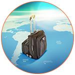 Concept d'une valise sur une mappemonde, Amérique du sud.