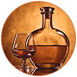 Verre et bouteille de cognac - Digestif