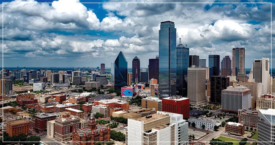 Vue aérienne de la ville de Dallas (USA)