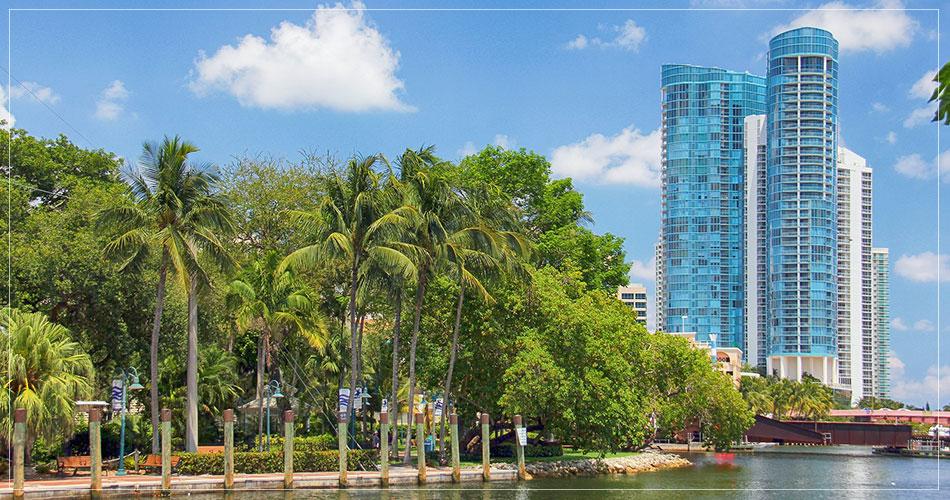 Vue sur la ville de Fort Lauderdale en Floride (USA)