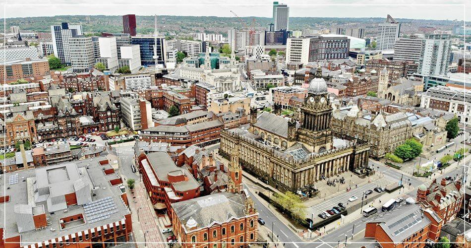 Vue aérienne de la ville de Leeds, Yorkshire (UK)