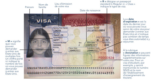 Visuel d'un visa américain