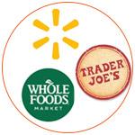 Les logos de Whole Foods, Walmart et Trader Joe's