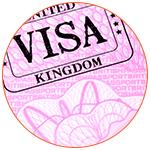 Zoom sur le tampon d'un visa du Royaume-Uni