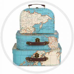 Lot de 3 valises mappemonde